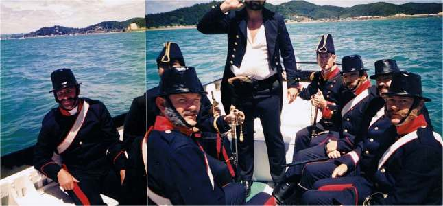 Governor Hobson's party at sea on the way to the beach at Waitangi (me on the far left).
