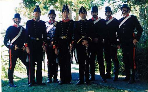 Governor Hobson and his fellow naval officers (in inaccurate uniforms!) and troopers of the NSW Mounted Police.