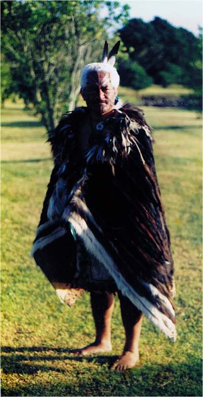 An actor playing a Maori chief at Waitangi.