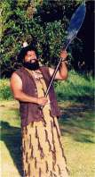 A Maori chief makes a speech.