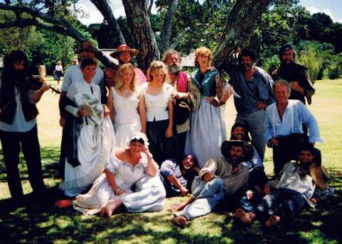Civilians take a break during the reenactment of the signing of the Treaty of Waitangi.