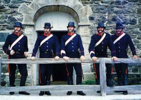 The party of NSW mounted troopers at the Old Stone Store in Kerikeri.