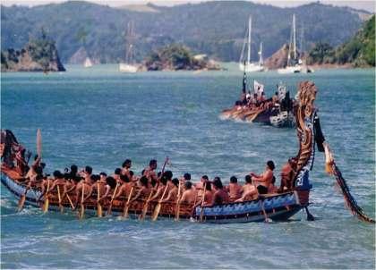 A Maori 'waka' (canoe) at sea.