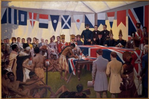 Marcus King painting of Treaty of Waitangi.