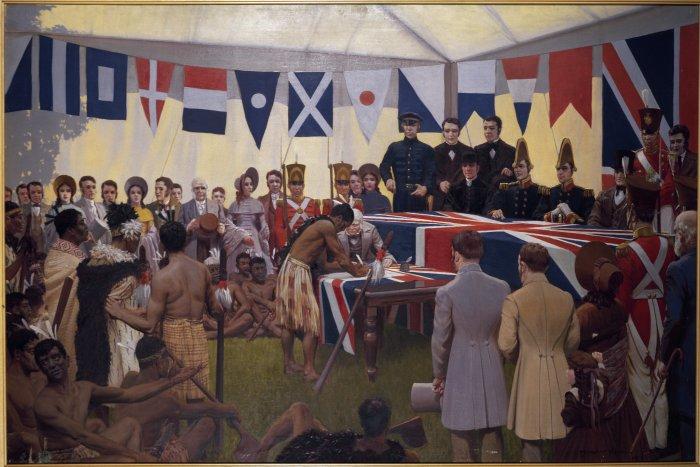 Marcus King painting of Treaty of Waitangi.