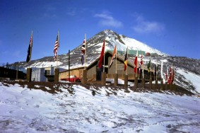 The National Science Foundation chalet, with Observation Peak in the background.