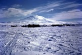 The ice runway at Williams Field, with Mount Erebus in the background.