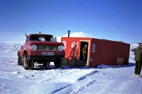 A fishing hut out on the sea-ice. A hole drilled through the floor allowed scientists to catch and tag Antarctic Cod.