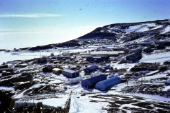 The American base where I worked - McMurdo Station. Population about 600 during the summer. This photo was taken at midnight!