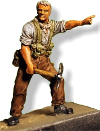 Roly as a 54mm Perry figure of a New Zealand soldier at Gallipoli